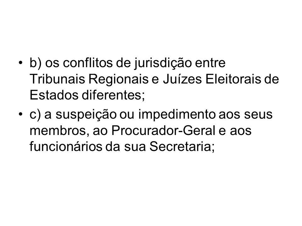 b) os conflitos de jurisdição entre Tribunais Regionais e Juízes Eleitorais de Estados diferentes;
