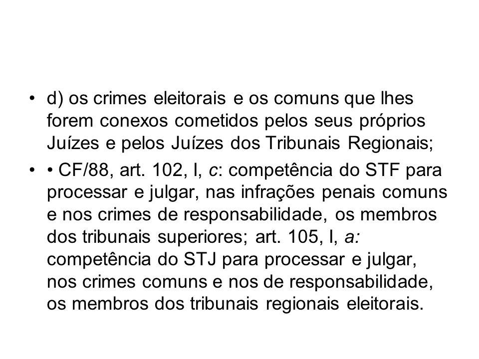 d) os crimes eleitorais e os comuns que lhes forem conexos cometidos pelos seus próprios Juízes e pelos Juízes dos Tribunais Regionais;