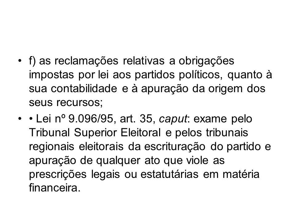 f) as reclamações relativas a obrigações impostas por lei aos partidos políticos, quanto à sua contabilidade e à apuração da origem dos seus recursos;