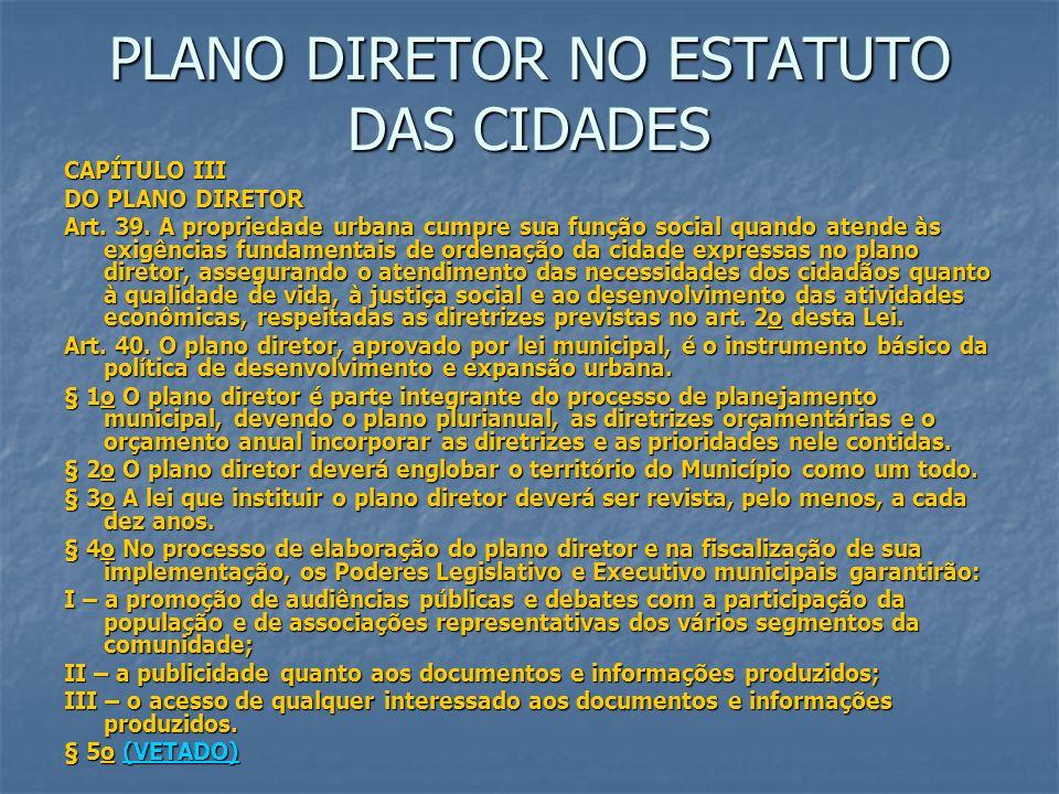 PLANO DIRETOR NO ESTATUTO DAS CIDADES