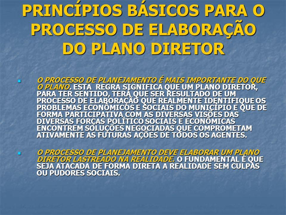 PRINCÍPIOS BÁSICOS PARA O PROCESSO DE ELABORAÇÃO DO PLANO DIRETOR