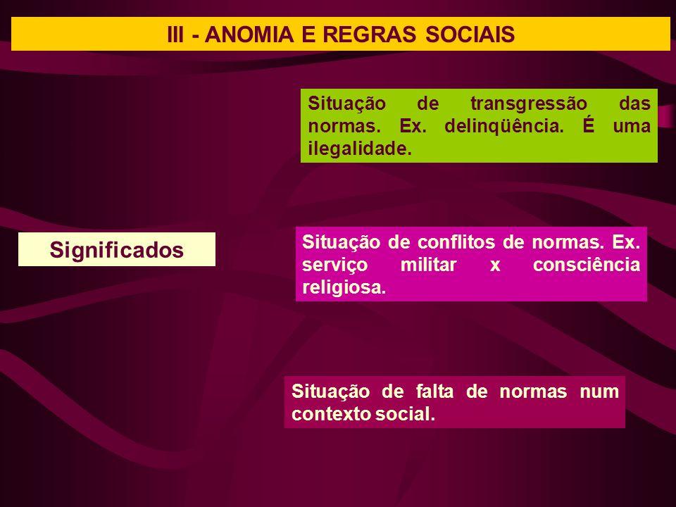 III - ANOMIA E REGRAS SOCIAIS