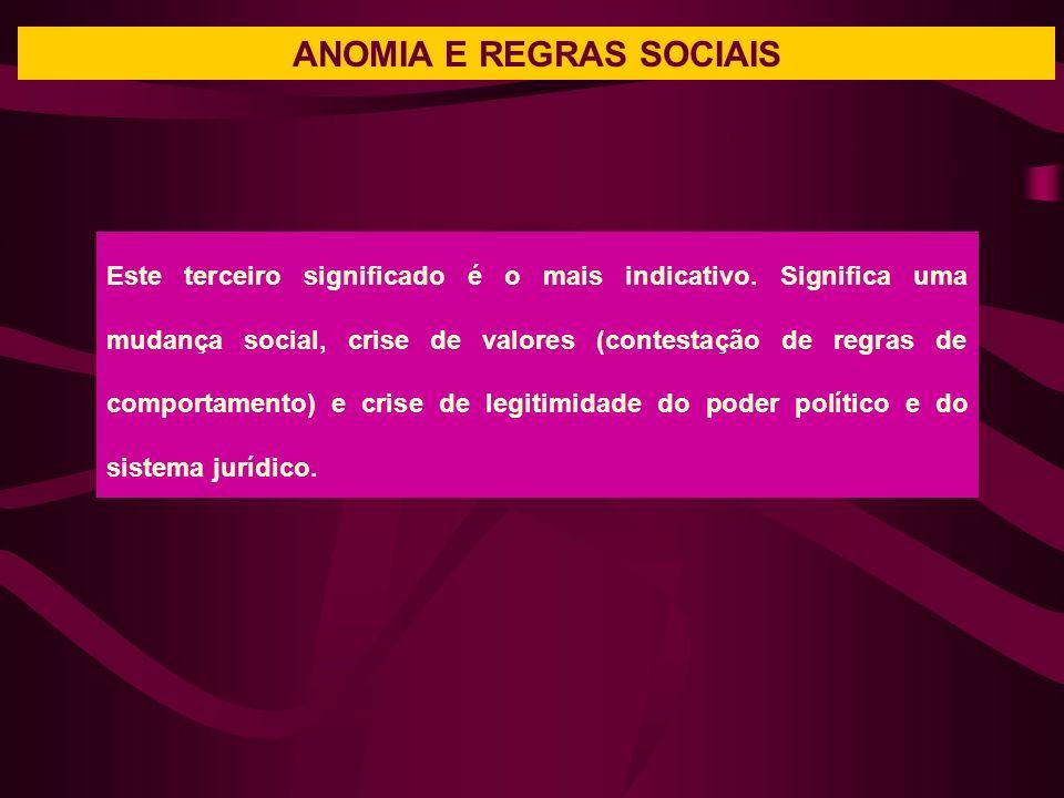 ANOMIA E REGRAS SOCIAIS