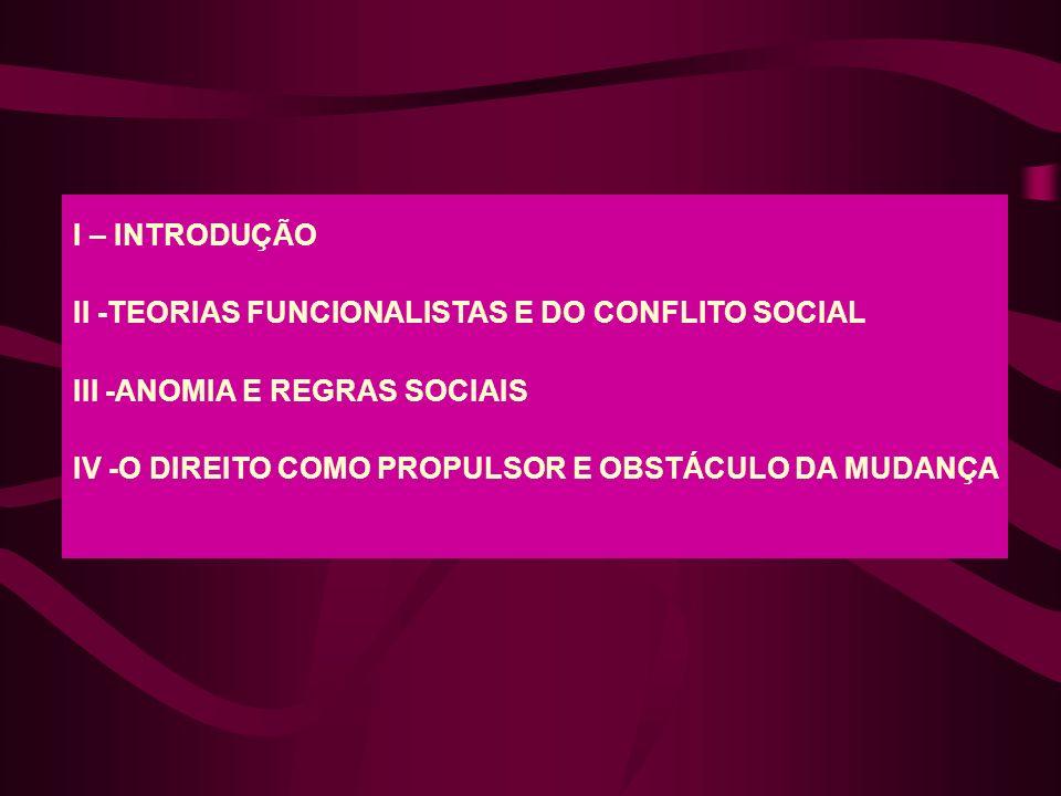I – INTRODUÇÃO II -TEORIAS FUNCIONALISTAS E DO CONFLITO SOCIAL.