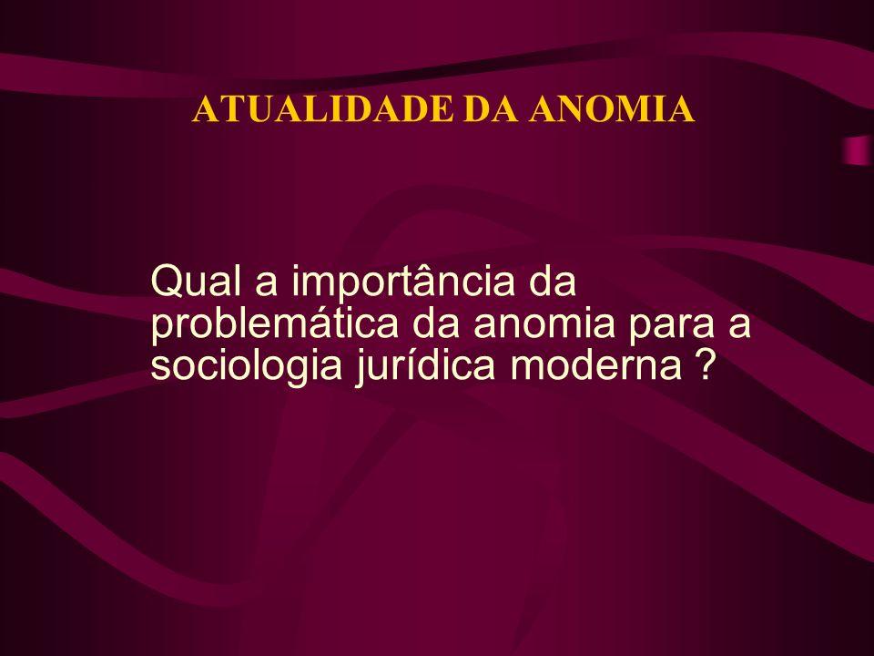 ATUALIDADE DA ANOMIA Qual a importância da problemática da anomia para a sociologia jurídica moderna