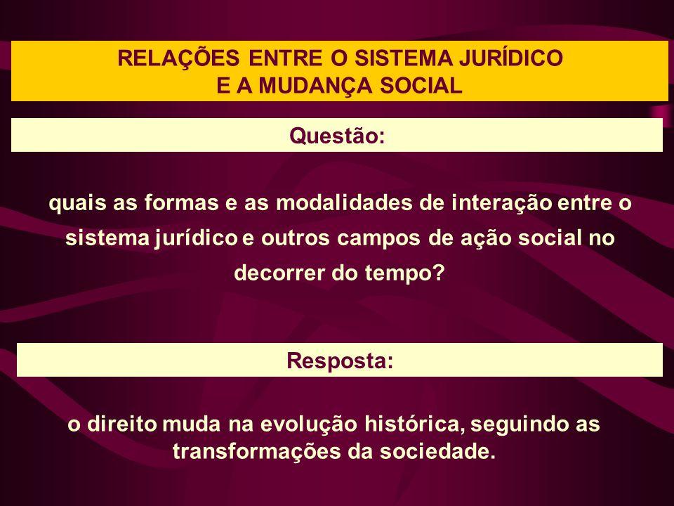 RELAÇÕES ENTRE O SISTEMA JURÍDICO E A MUDANÇA SOCIAL