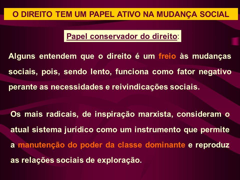 O DIREITO TEM UM PAPEL ATIVO NA MUDANÇA SOCIAL