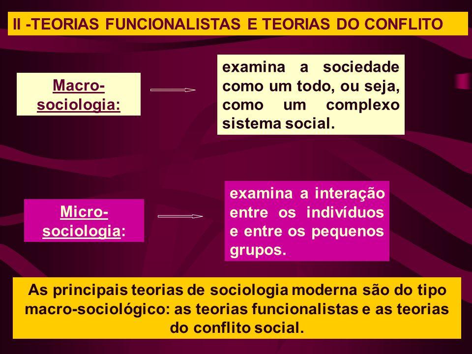 II -TEORIAS FUNCIONALISTAS E TEORIAS DO CONFLITO