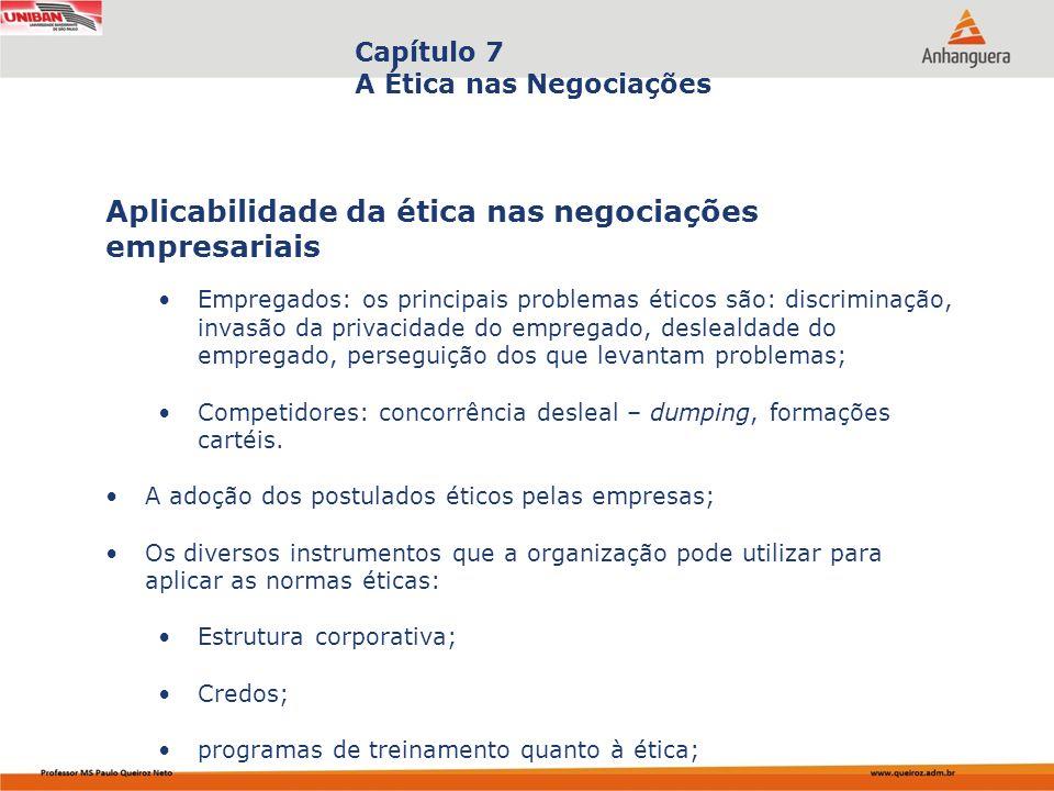 Aplicabilidade da ética nas negociações empresariais