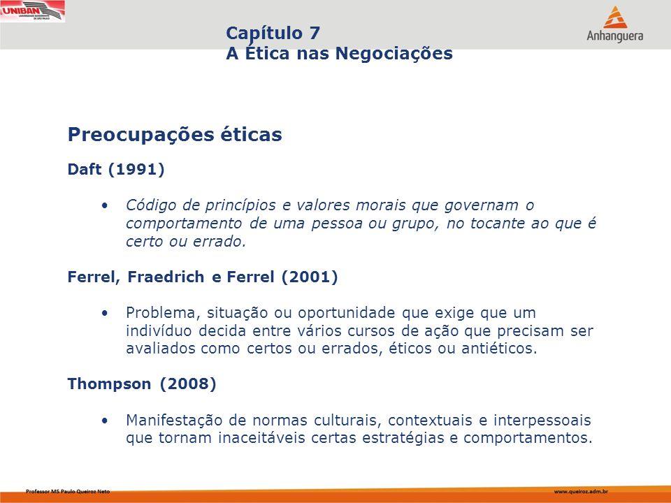 Preocupações éticas Capítulo 7 A Ética nas Negociações Daft (1991)
