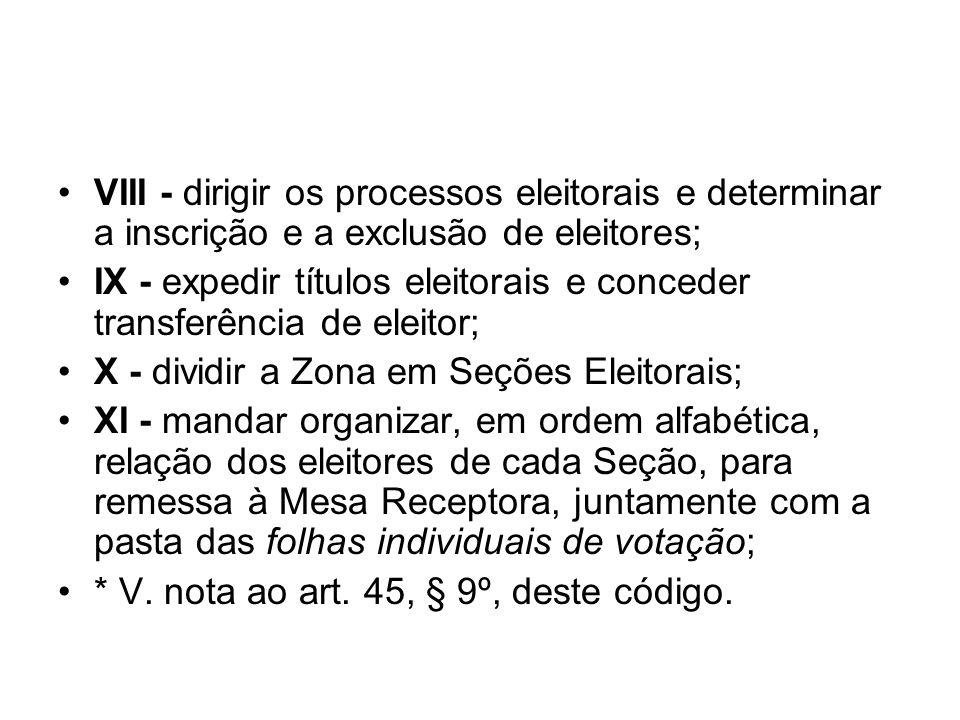 VIII - dirigir os processos eleitorais e determinar a inscrição e a exclusão de eleitores;