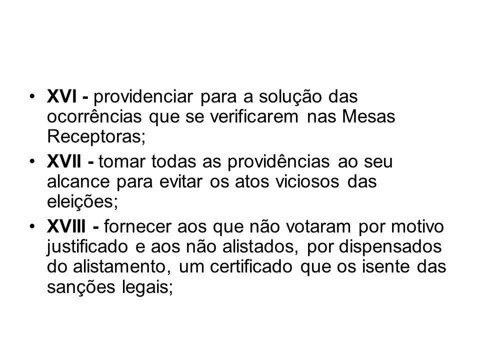 XVI - providenciar para a solução das ocorrências que se verificarem nas Mesas Receptoras;