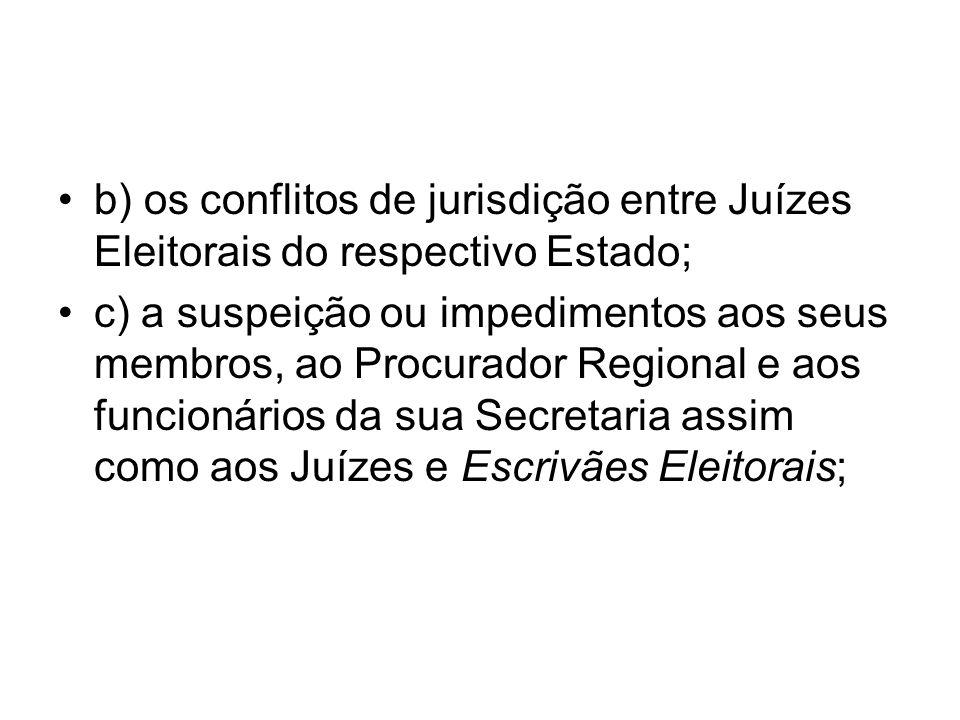 b) os conflitos de jurisdição entre Juízes Eleitorais do respectivo Estado;
