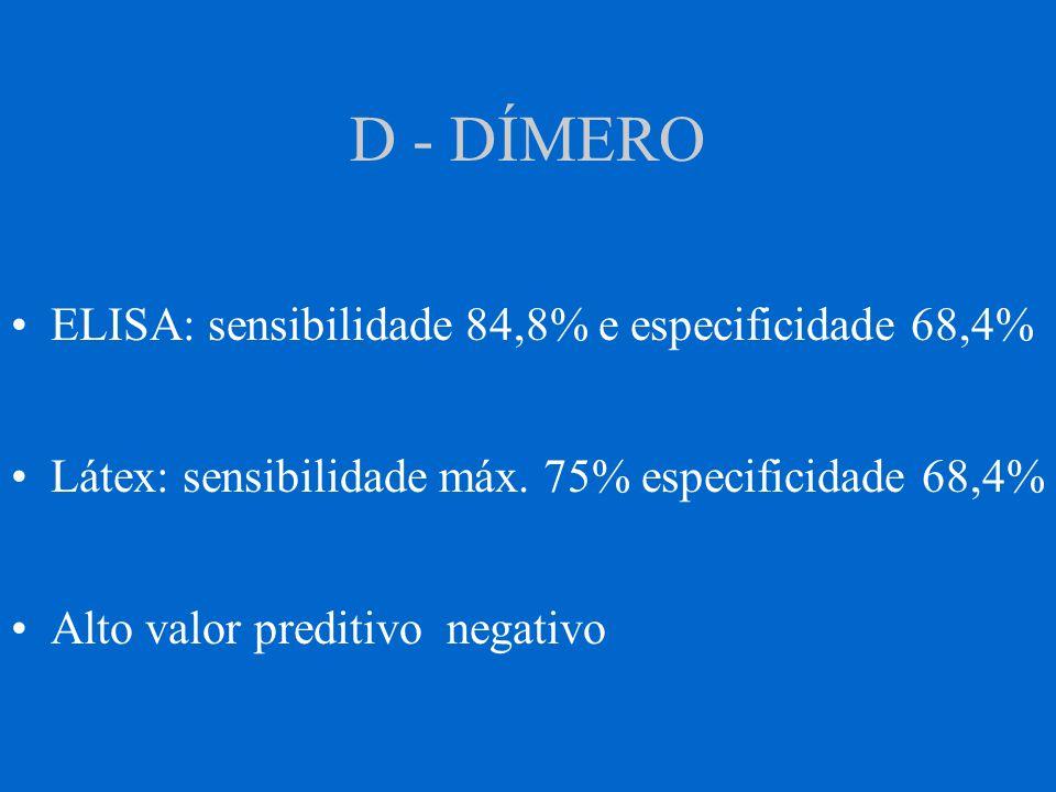 D - DÍMERO ELISA: sensibilidade 84,8% e especificidade 68,4%