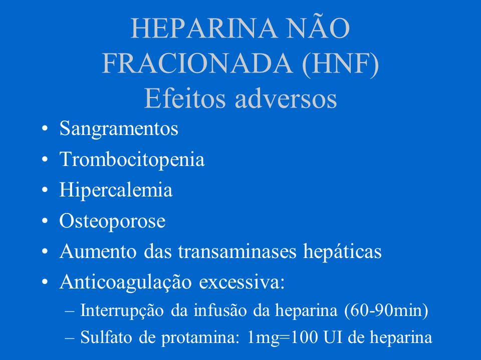 HEPARINA NÃO FRACIONADA (HNF) Efeitos adversos