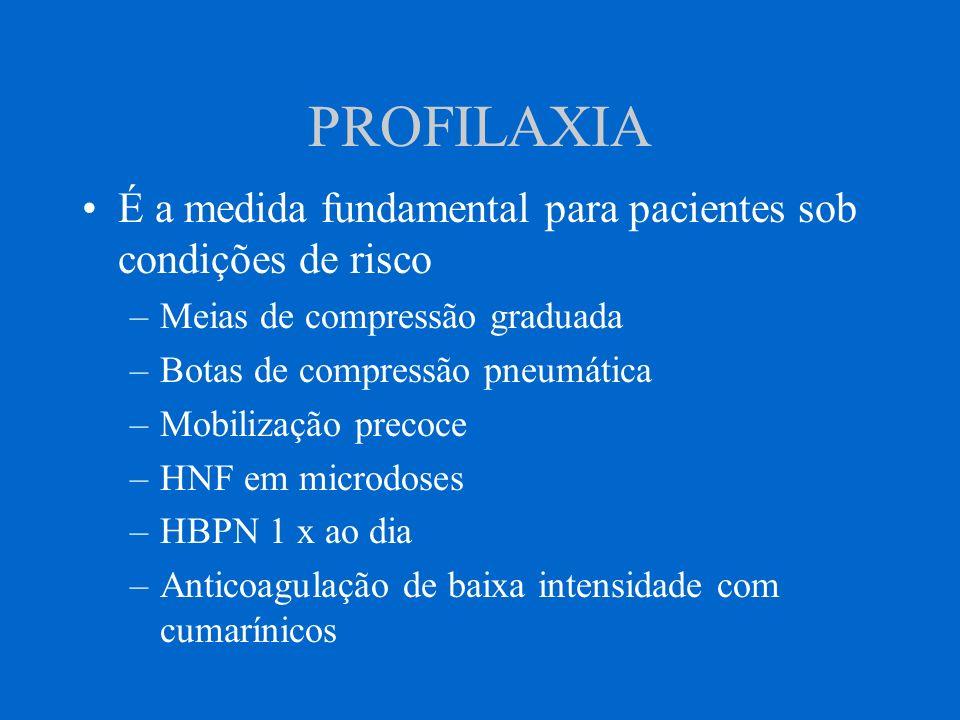PROFILAXIA É a medida fundamental para pacientes sob condições de risco. Meias de compressão graduada.