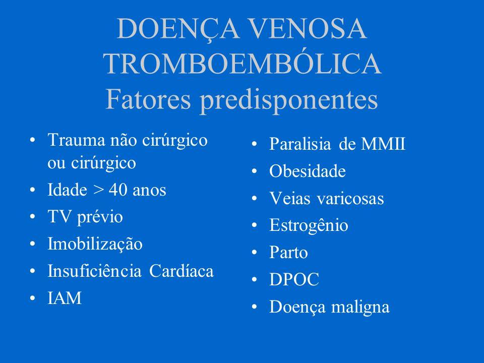 DOENÇA VENOSA TROMBOEMBÓLICA Fatores predisponentes