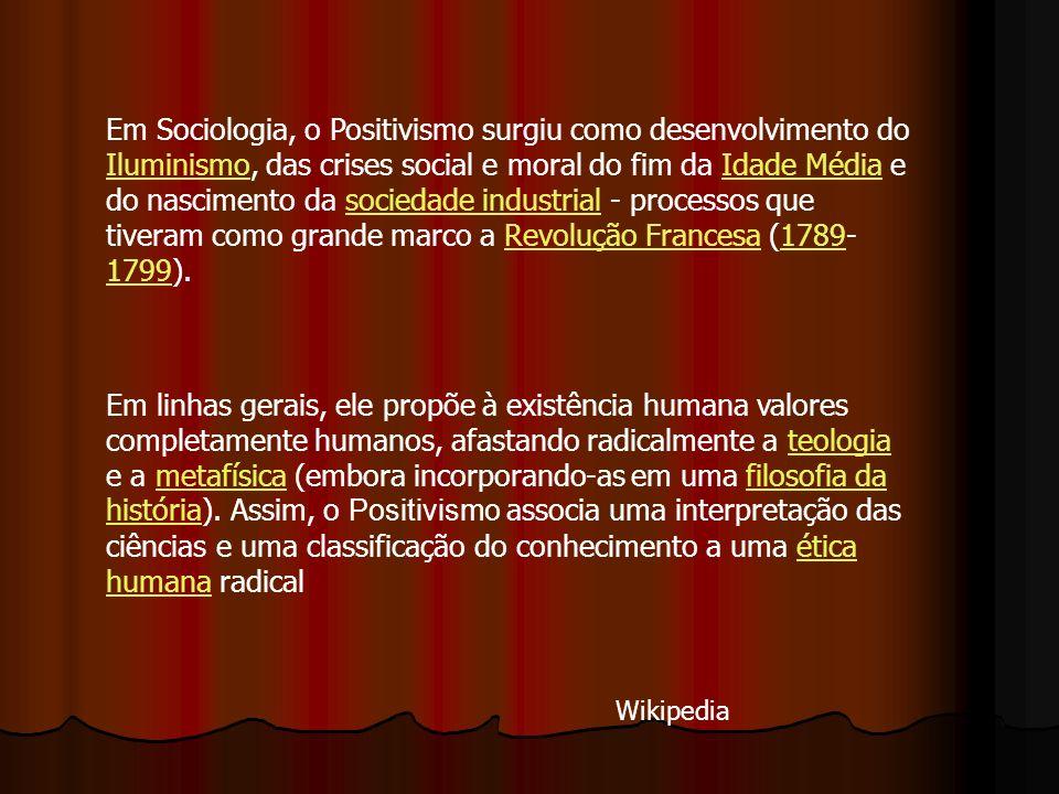 Em Sociologia, o Positivismo surgiu como desenvolvimento do Iluminismo, das crises social e moral do fim da Idade Média e do nascimento da sociedade industrial - processos que tiveram como grande marco a Revolução Francesa (1789-1799).