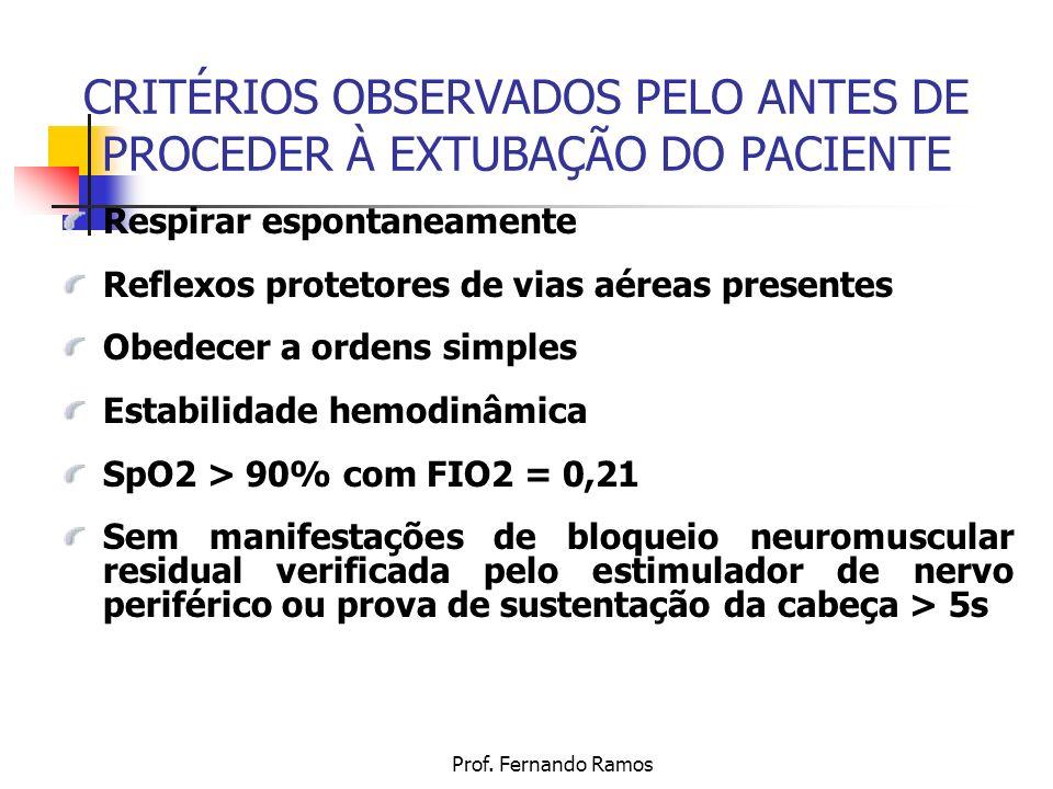 CRITÉRIOS OBSERVADOS PELO ANTES DE PROCEDER À EXTUBAÇÃO DO PACIENTE