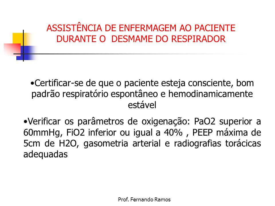 ASSISTÊNCIA DE ENFERMAGEM AO PACIENTE DURANTE O DESMAME DO RESPIRADOR