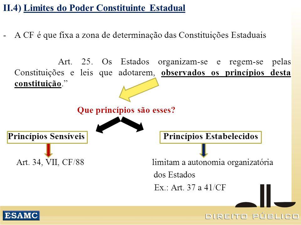 II.4) Limites do Poder Constituinte Estadual