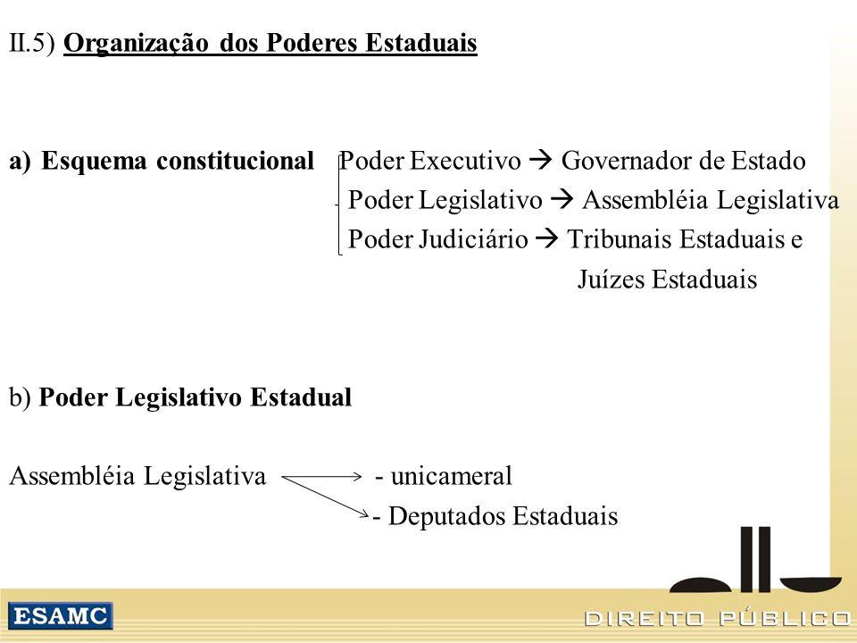 II.5) Organização dos Poderes Estaduais