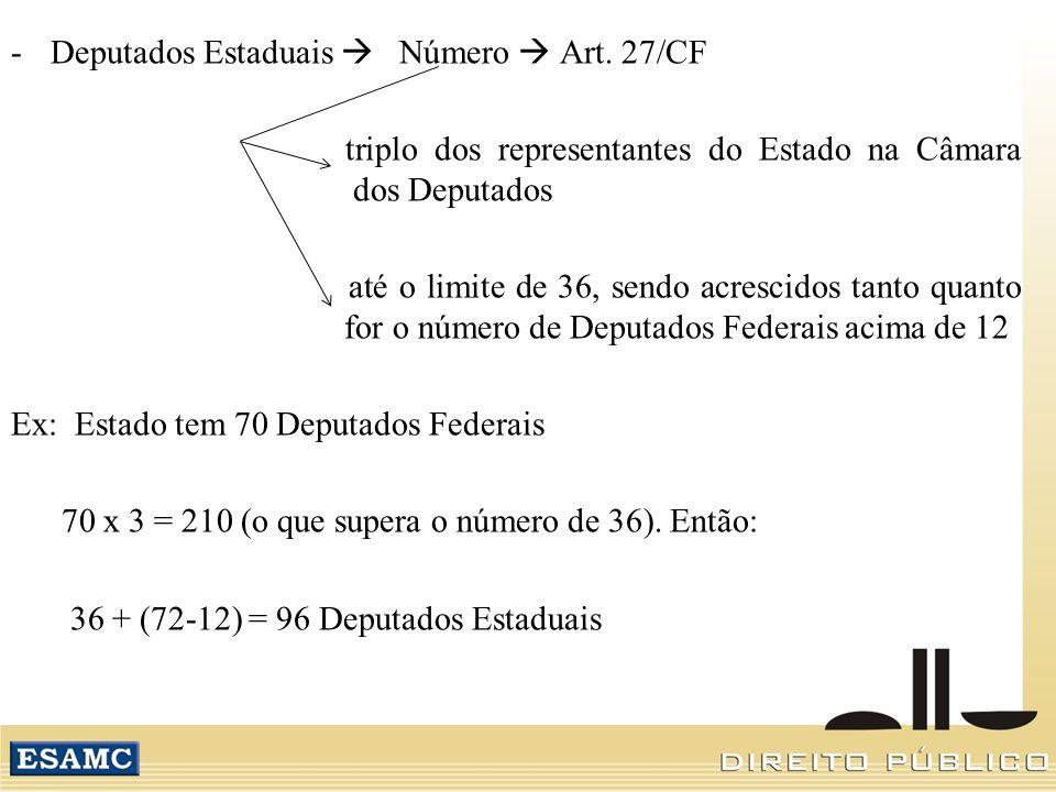 Deputados Estaduais  Número  Art. 27/CF