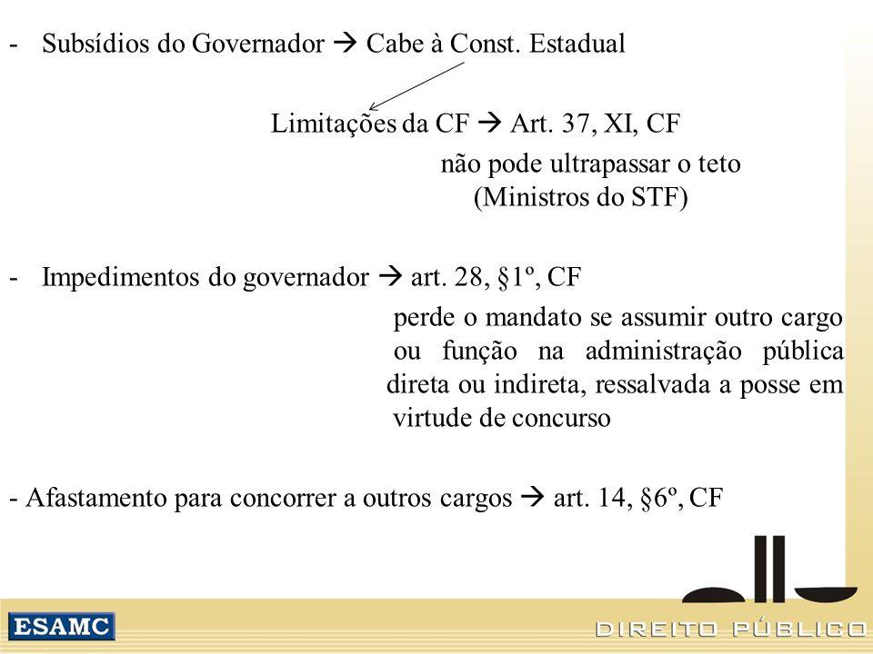 Subsídios do Governador  Cabe à Const. Estadual