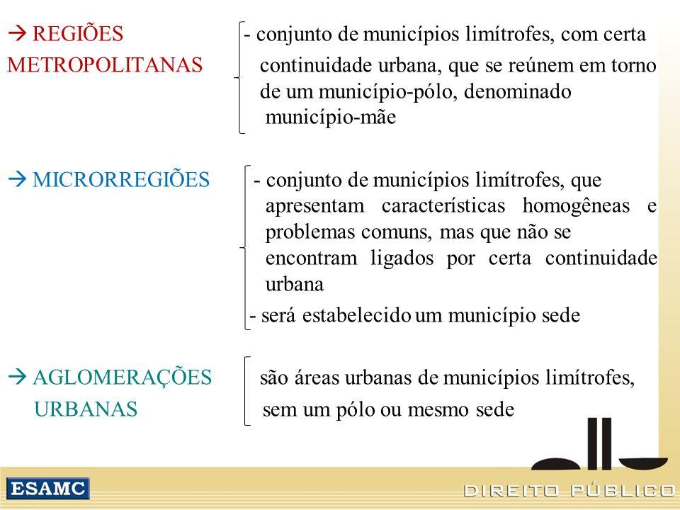 REGIÕES - conjunto de municípios limítrofes, com certa