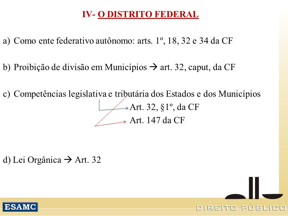 IV- O DISTRITO FEDERAL Como ente federativo autônomo: arts. 1º, 18, 32 e 34 da CF. Proibição de divisão em Municípios  art. 32, caput, da CF.