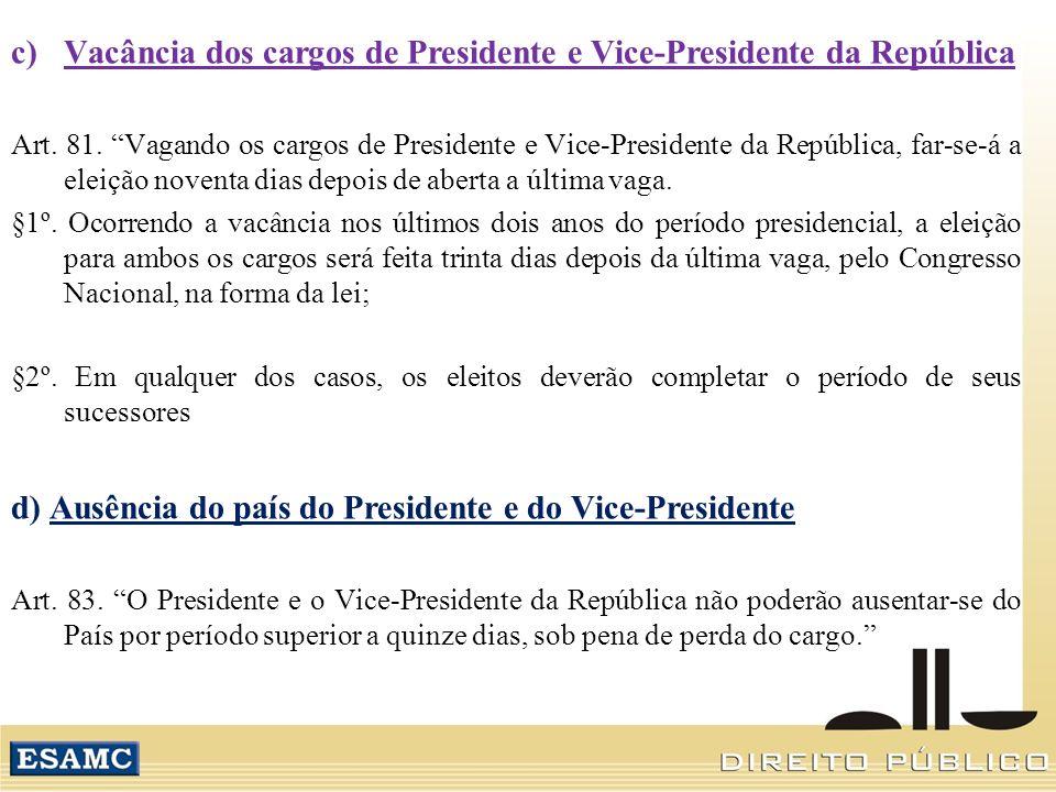 Vacância dos cargos de Presidente e Vice-Presidente da República