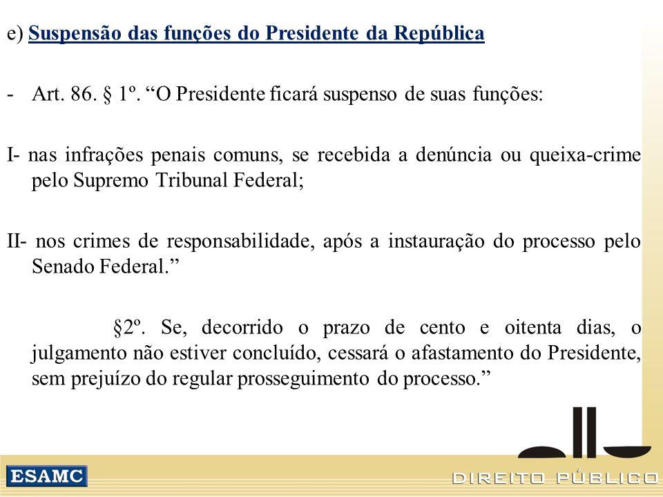 e) Suspensão das funções do Presidente da República