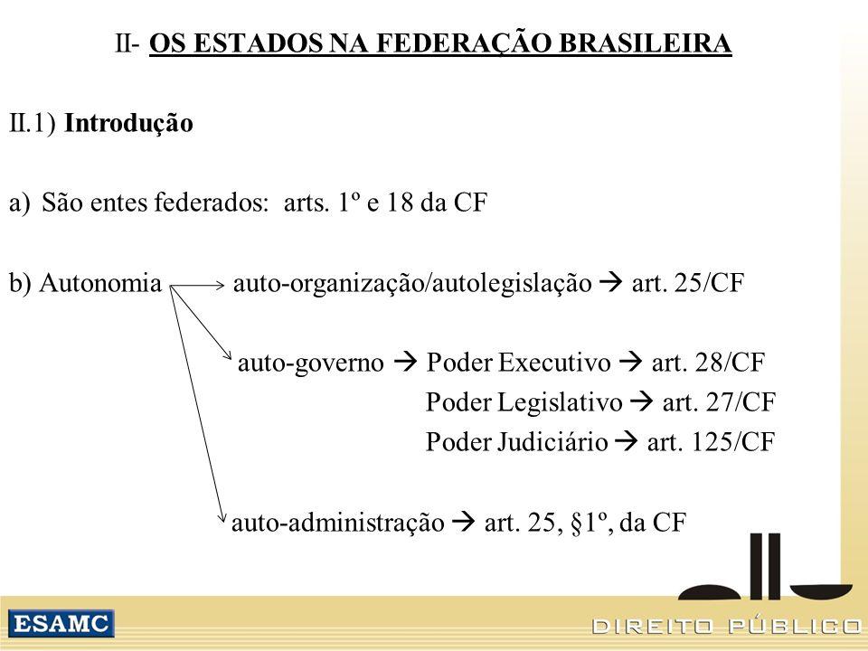 II- OS ESTADOS NA FEDERAÇÃO BRASILEIRA