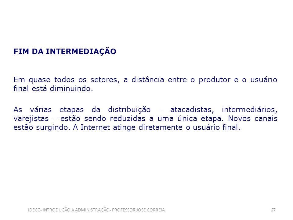IDECC- INTRODUÇÃO A ADMINISTRAÇÃO- PROFESSOR JOSE CORREIA