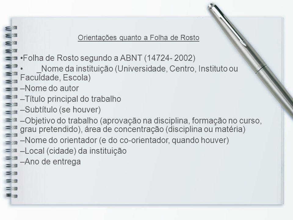 Folha de Rosto segundo a ABNT (14724- 2002)