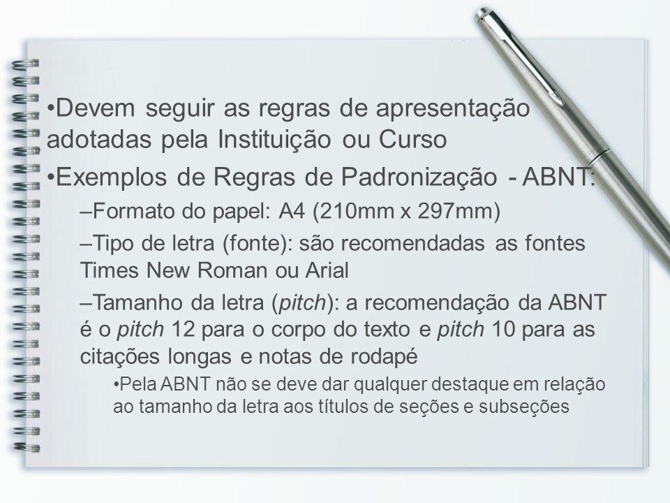Exemplos de Regras de Padronização - ABNT: