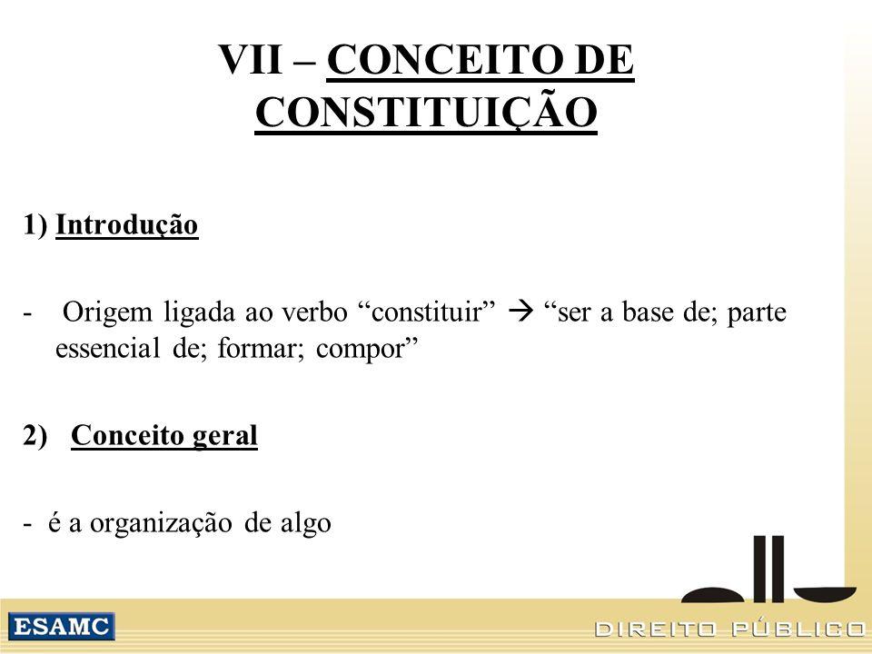 VII – CONCEITO DE CONSTITUIÇÃO