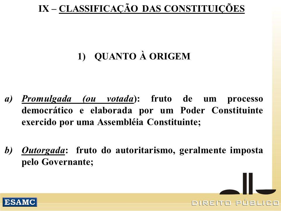 IX – CLASSIFICAÇÃO DAS CONSTITUIÇÕES