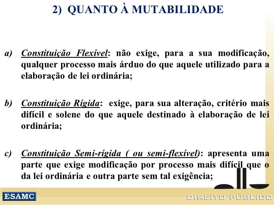 2) QUANTO À MUTABILIDADE