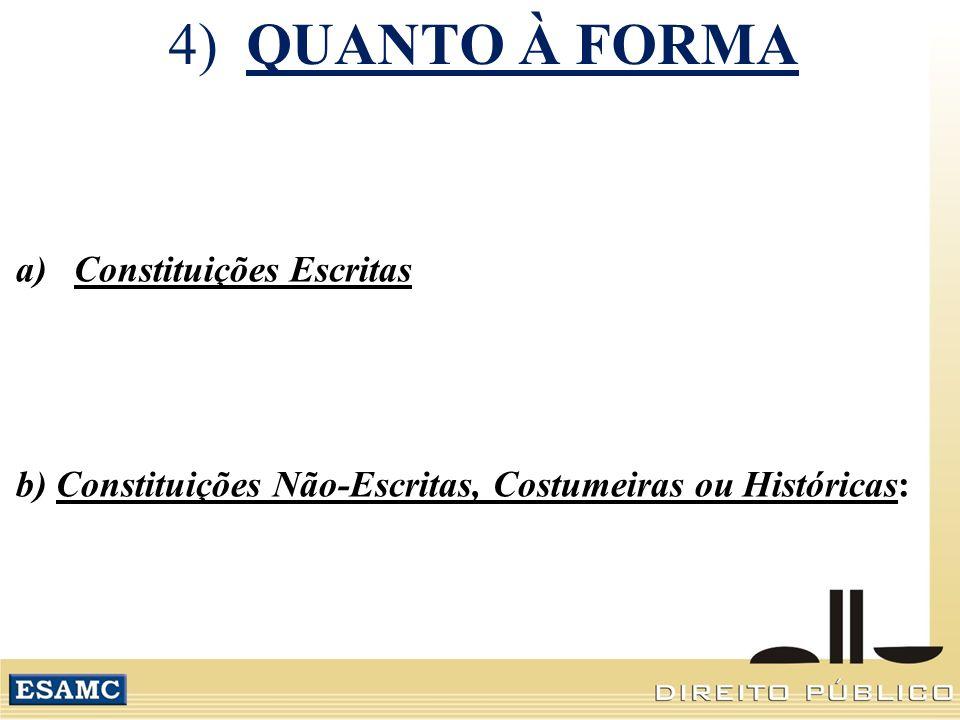 4) QUANTO À FORMA Constituições Escritas