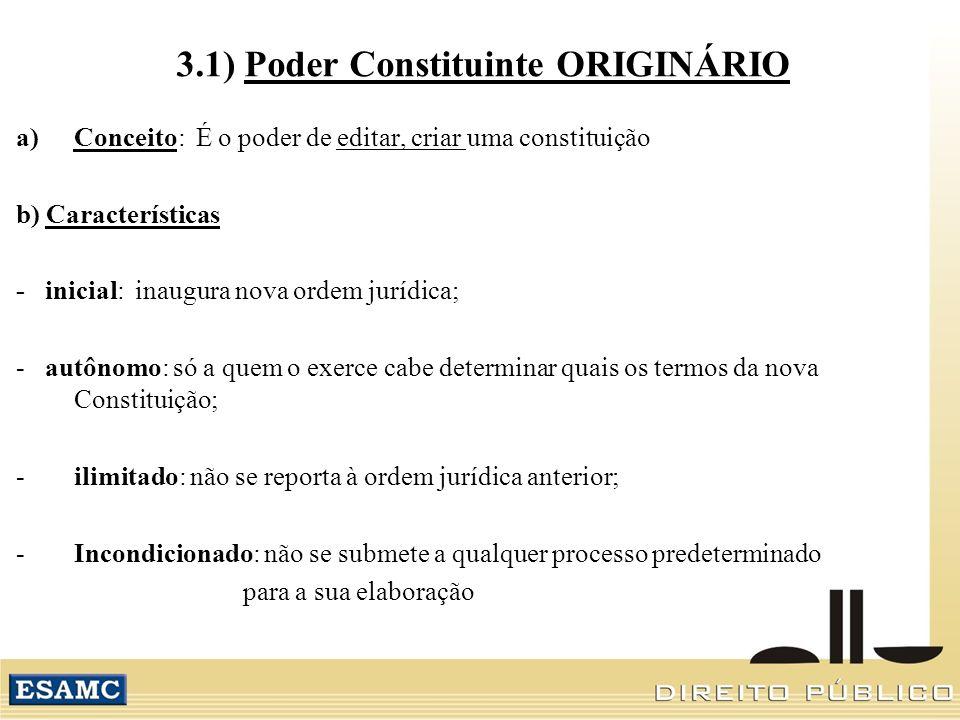 3.1) Poder Constituinte ORIGINÁRIO