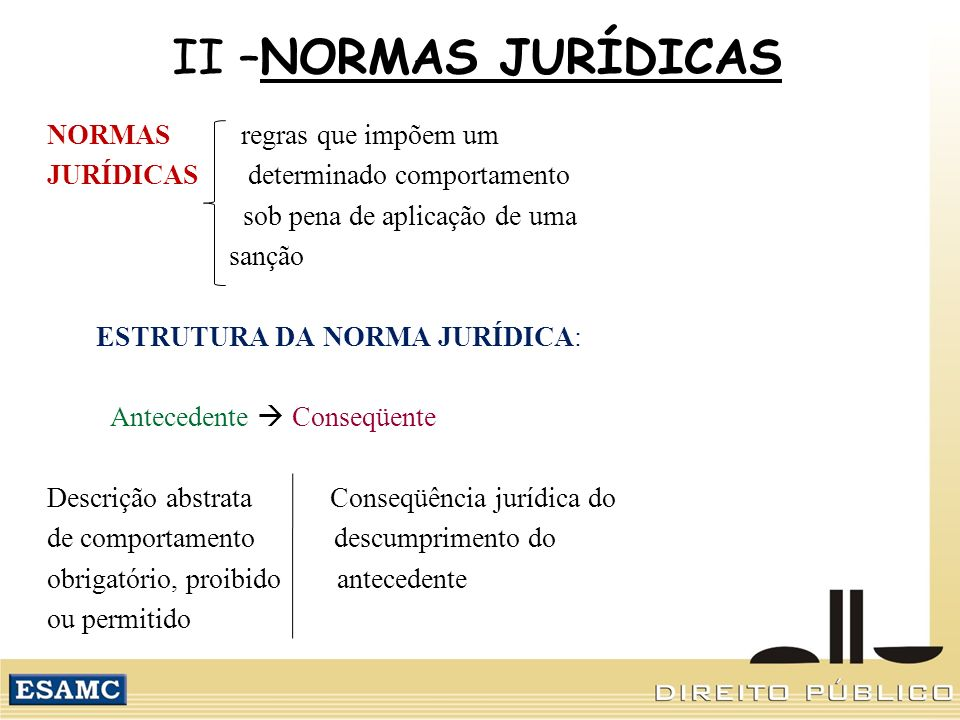 II –NORMAS JURÍDICAS NORMAS regras que impõem um
