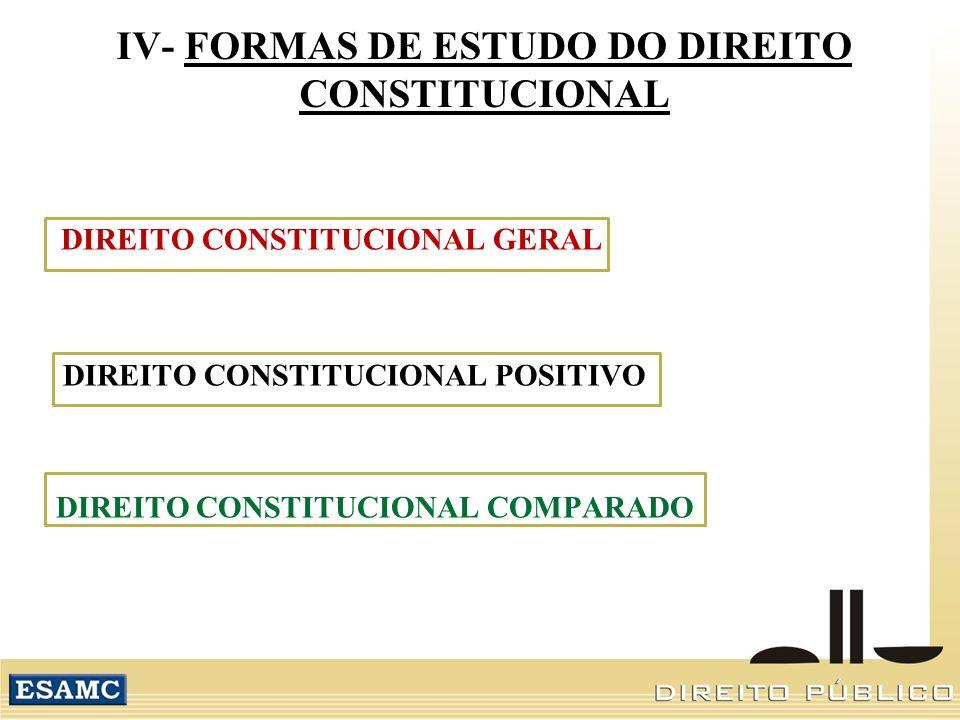 IV- FORMAS DE ESTUDO DO DIREITO CONSTITUCIONAL