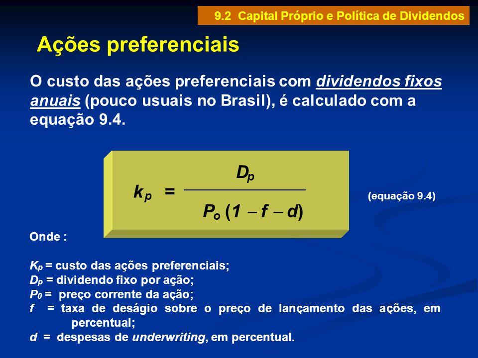 Ações preferenciais D P (1 - f - d) k =