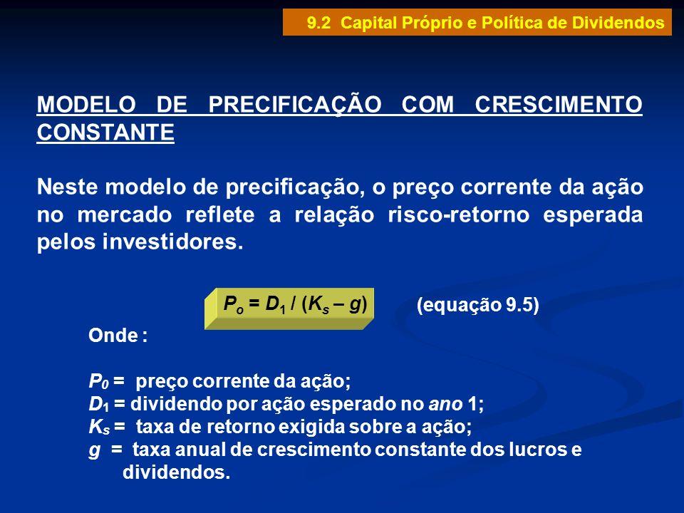 MODELO DE PRECIFICAÇÃO COM CRESCIMENTO CONSTANTE