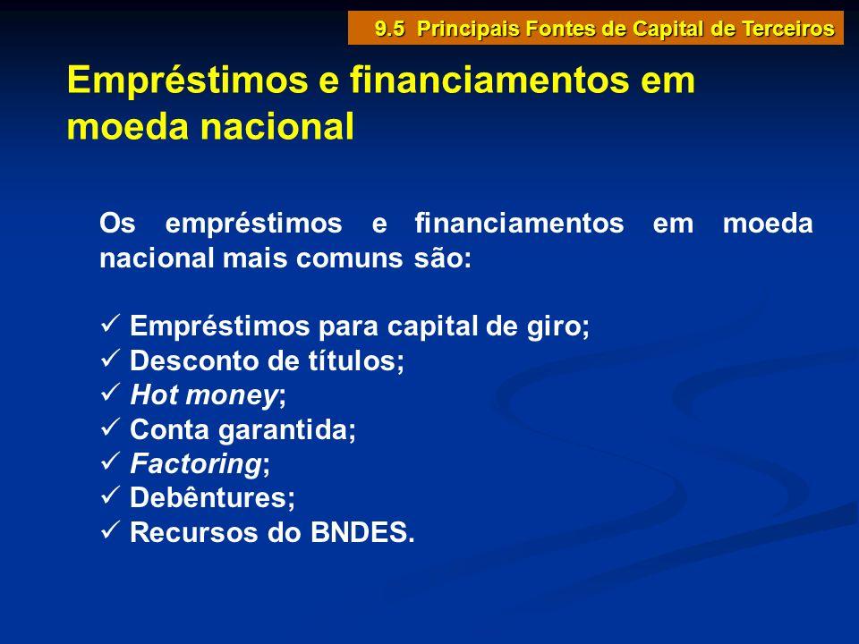 Empréstimos e financiamentos em moeda nacional