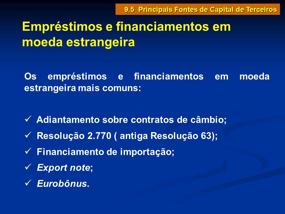 Empréstimos e financiamentos em moeda estrangeira