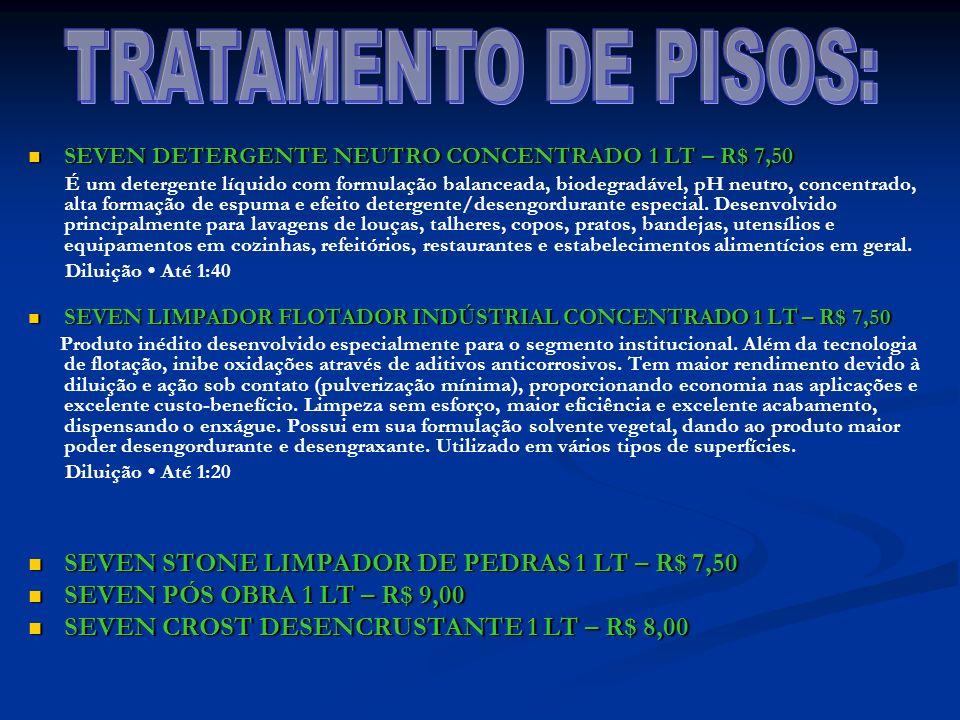 TRATAMENTO DE PISOS: SEVEN STONE LIMPADOR DE PEDRAS 1 LT – R$ 7,50