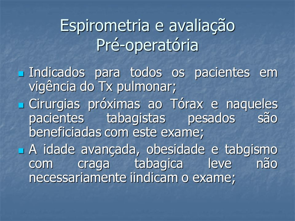 Espirometria e avaliação Pré-operatória