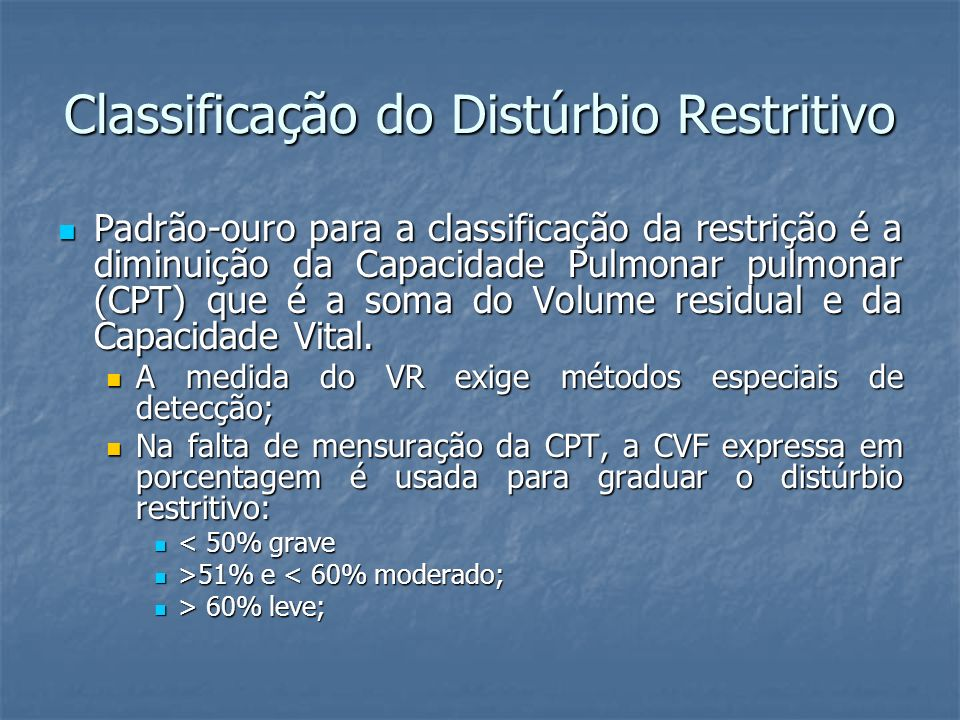 Classificação do Distúrbio Restritivo